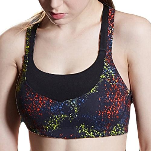 Moda mujeres deportes Bra impresión Wireless sin costura acolchada Stretch transpirable Yoga gimnasio chaleco negro/púrpura