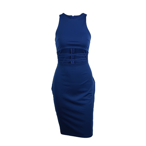 Donne sexy vestito bodycon tagliato Waist Strap O senza maniche collo elastico Club Party Dress