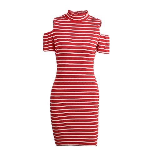 New Fashion Women Mini Dress Stretch Stripe Print Color Block Off Shoulder Turtle Neck Slim Fit Sexy One-Piece Red