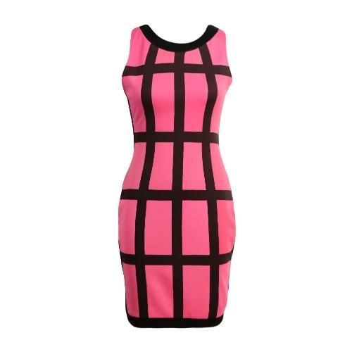 Sexy Women Mini Dress Color Block Stripe O Neck Sleeveless Zipper Bodycon Party Clubwear Sundress Rose/Green/Yellow