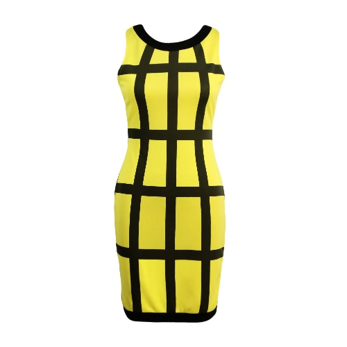 Sexy Women Mini Dress Color Block Stripe O Neck Sleeveless Zipper Bodycon Party Clubwear Sundress Rose/Green/Yellow
