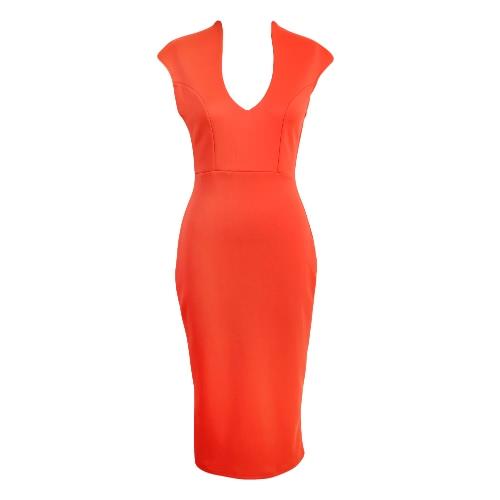 Sexy Club Deep V Neck Sleeveless Women's Solid Color Bodycon Midi Dress