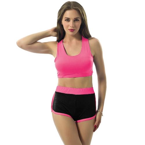 Sexy Mujeres Deportes de dos piezas color de contraste Scoop gimnasia yoga Crop Top chaleco delgado pantalones cortos chándales azul / verde / Rose