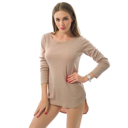 Nueva camiseta de las mujeres del color sólido del O-Cuello de manga larga de alto-bajo sudadera Hem Casual top de la blusa beige / gris / púrpura