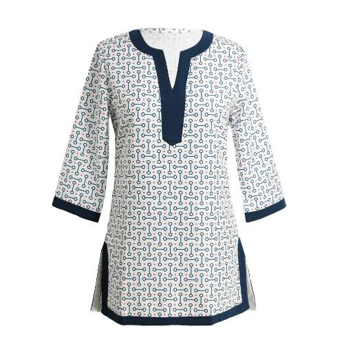 Geometrische Print Split V-Ausschnitt, Dreiviertelärmeln beiläufige lange Hemd Etuikleid Rosa neue Art und Weise Frauen-Bluse / rot / blau