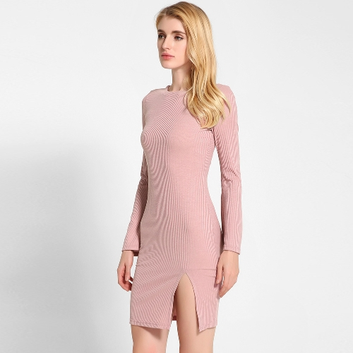 Solid Color Cross Strap Flare Sleeve Split Slim Sweater Dress