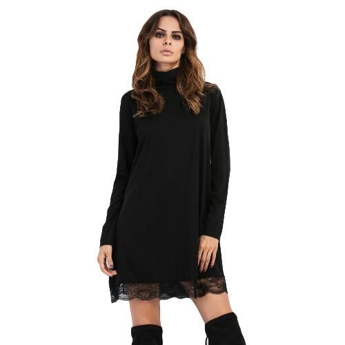 Manera de las mujeres de cuello alto vestido con borde de encaje de manga larga de fiesta informal de Clubwear del mini vestido de Negro