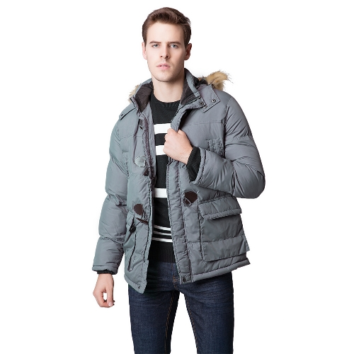Men Winter Parka Faux Fur Collar Hooded Coat