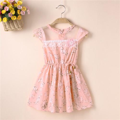 Nuevas chicas lindas vestido Floral Mesh impresión inserto elástico en la cintura arco abalorios sin mangas dulce una pieza color de rosa/amarillo /Green