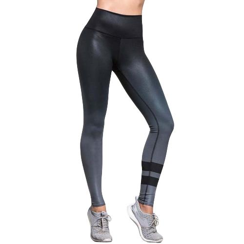 Sexy Kobiety Slim Ubieranki Sport Joga Gradientowe Striped Casual Fitness Skinny Pencil Spodnie Spodnie