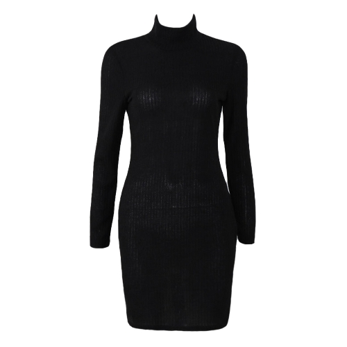 Women Knit Solid Long Sleeve Turtleneck Dress Mini Sweater Dress