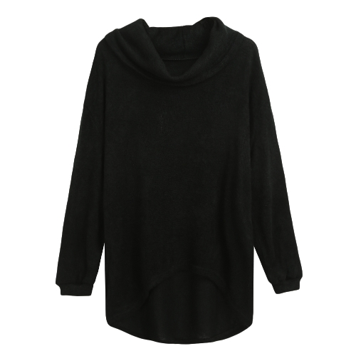 Mulheres Camisola de malha Pullover Jumper Turtleneck Asymmetric Hem Casual Loose Knitwear Tops