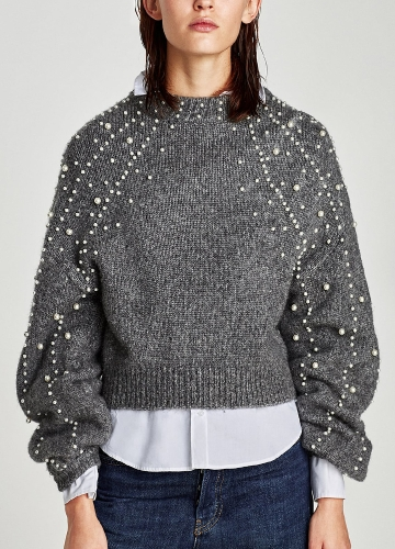 Women Cropped Loose Sweater Faux Pearls Beadings Round Neck Long Sleeve Ribbed Casual Pullover