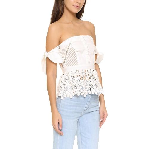 Camisa de blusa de encaje de las mujeres Casual fuera del hombro Top Sexy Tie de las señoras de verano hueco blusa elegante blanco