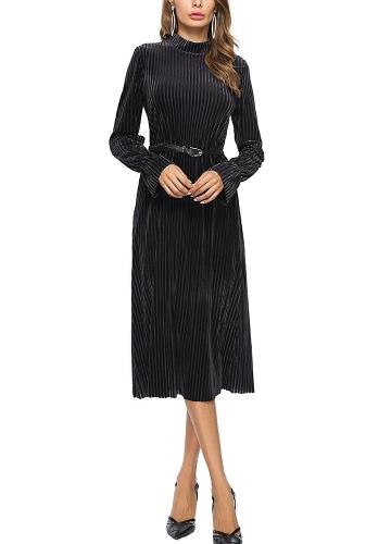 Mulheres Velvet Dress Stripe Belt Flare Long Sleeves Midi A-Line Vestidos
