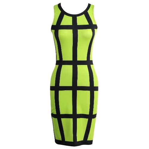 Sexy Women Mini Bodycon Dress Color Block Stripe O Neck Sleeveless Party Clubwear Slim Sundress