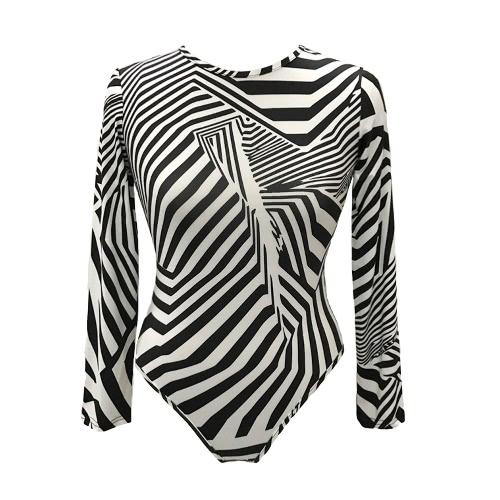 Neue Frauen-reizvolle Bodysuit Chic Druck O-Ansatz lange Hülsen-Tights Bodycon Overall Strampler