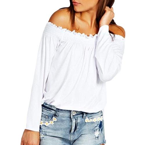 Elastico Off camicetta delle nuove donne della spalla di modo manicotto lungo solido di colore T-shirt casual SUPERA IL T