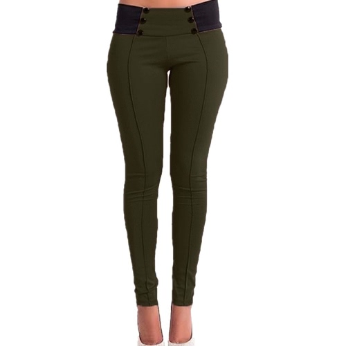 New Fashion Women Slim Pants Elastic Low Waist Buttons Sexy Bodycon Skinny Pencil Leggings Trousers