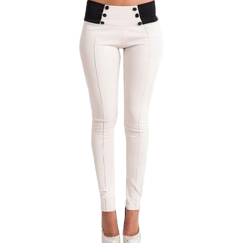 New Fashion Women Slim Pants Elastic Low Waist Buttons Sexy Bodycon Skinny Pencil Leggings Trousers