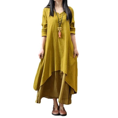 Nuevas mujeres forman el vestido flojo ocasional de Boho Vestido largo sólido de manga larga de algodón larga de lino
