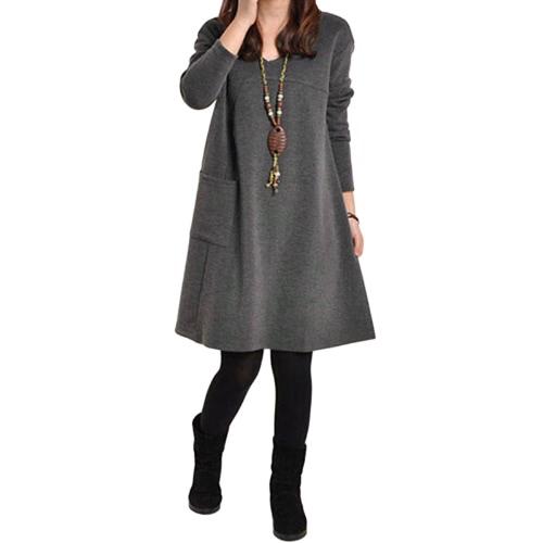Otoño Invierno vestido de las mujeres del tamaño extra grande de manga larga bolsillos Solid cuello en V vestido suelto