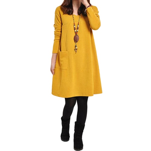 Autumn Winter Women Dress Plus Size Long Sleeves Pockets Solid V Neck Loose Dress, TOMTOP  - buy with discount