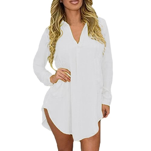 Manera de la camisa de las mujeres del resorte de manga larga da vuelta-abajo asimétrico ocasional sólida floja de la blusa superior