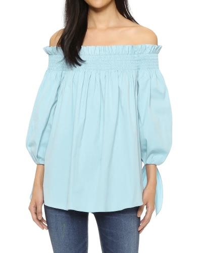 Mujeres más tamaño de la camisa de la blusa del hombro Slash Cuello Ruffle 3/4 manga Irregular Long Loose Top Negro / Blanco / Azul