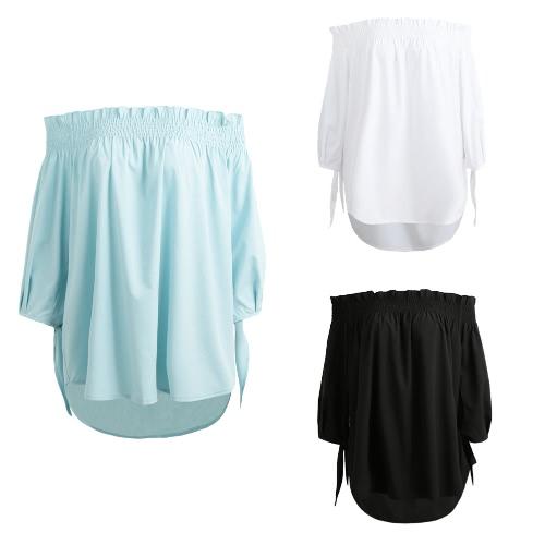 TOMTOP / Women Plus Size Off Camisa de blusa de ombro Slash Neck Ruffle 3/4 Sleeve Irregular Long Loose Top Preto / Branco / Azul