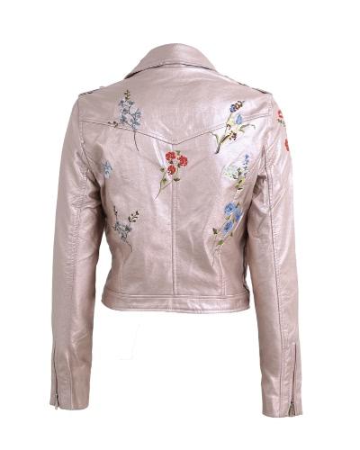 Мода женщин вышивка цветок PU искусственная кожа куртка пальто