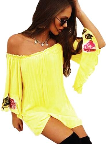 Verano Mujer Loose T-Shirt Slash Neck Off Hombro