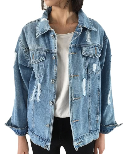 New Women Ripped Denim Coat Destroyed Frayed Hole Pockets Long Sleeves Loose