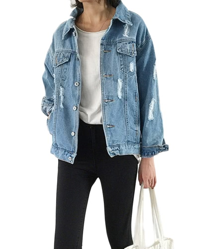 New Women Ripped Denim Coat Détruit Frayed Hole Poches Manches longues Loose