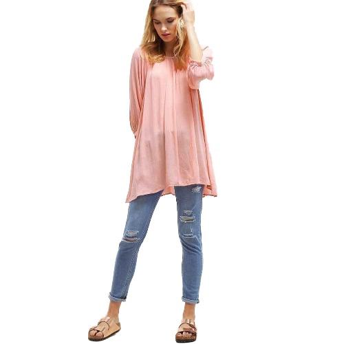 Mujer Blusa de talla grande Solor Color Asimétrico Hem Trío de tres cuartos