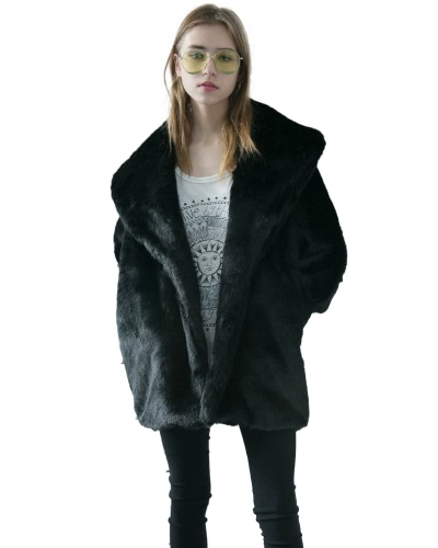 Mujeres Faux Fur Coat Jacket Batwing Sleeves Raglan V cuello peludo suelta Casual Overcoat largo Outwear