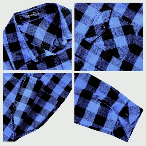 Mixfeer Casual Loose Plaid Roll Up Sleeve Button Down Shirt