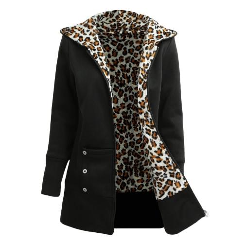 Зимние женские толстовки пальто Leopard флис подкладка молнии теплый повседневная с капюшоном верхняя одежда