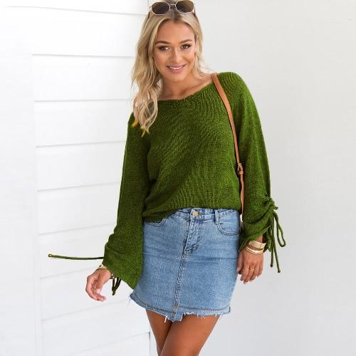 Nuevas mujeres hechas punto suéter Sexy V cuello de hombro frío de manga larga casual prendas de punto Negro / Verde
