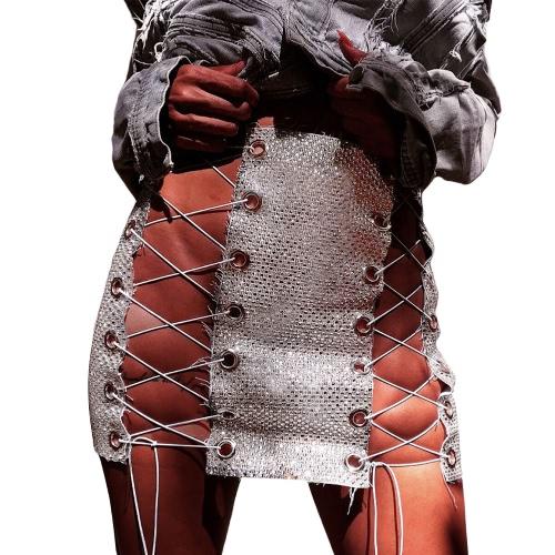 Mujer vendaje encaje hasta mini falda ahuecar hacia fuera cequis mediados de cintura club nocturno lápiz falda negro / plata