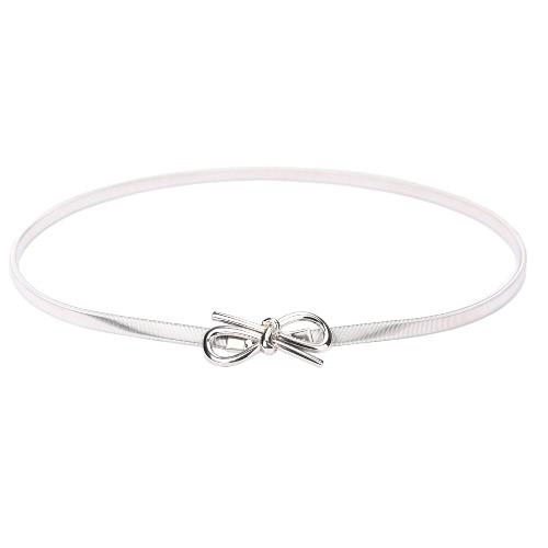 Nueva moda mujer correa arco hebilla cinturón elástico delgado estiramiento frontal Bowknot cintura correa oro/plata