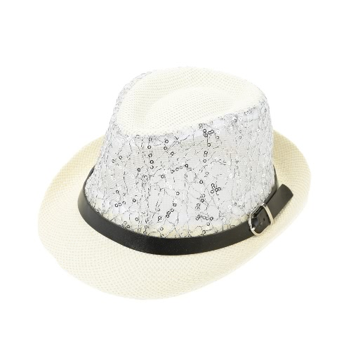 Moda muchacha del muchacho de sombrero de paja de las lentejuelas de malla transparente de la correa de Fedora rizado del borde de los niños del bebé Panamá Jazz sombrero flexible del casquillo del sombrero unisex