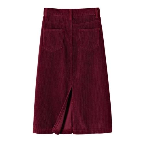 Abody Women Skirt Solid Color Split Hem Pocket High Waist Casual Dress