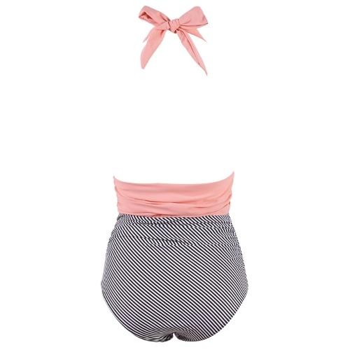 Abody Women One Piece Swimsuit Elegant Sexy V Neck Halter Hollow Out Striped Tummy Control Bikini Set Bathing Suit