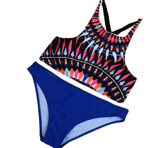 Sexy Women's Geometric Print Push Up Low Waist Bikini Set
