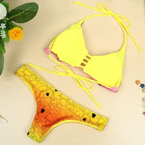 新しいセクシーな女性ビキニ セット プリント ホルター無線パッド 2 枚入浴スーツ ビーチ水着水着