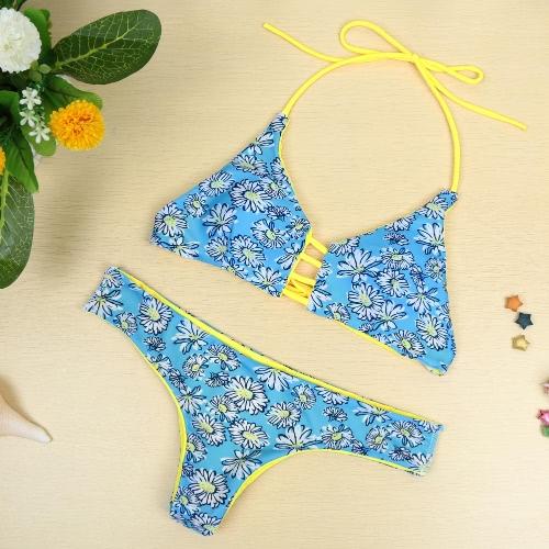 Nueva mujer Sexy Bikini conjunto Halter impresión inalámbrica acolchado dos pedazo juego playa traje de baño trajes de baño