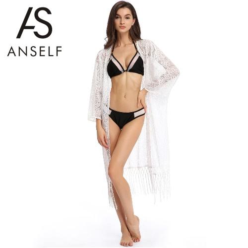 Frauen-Strand-Cardigan Kimono Vertuschung-Tassel Crochet aushöhlen Bikini Lange Badebekleidung Weiß