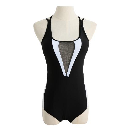 Neuer reizvoller Frauen einteiliger Badeanzug-Ineinander greifen aushöhlen Kontrast-Farben-Block Padded Strand-Badebekleidung Badeanzug Schwarz