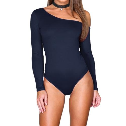 One Shoulder Long Sleeve Stretchy Bodysuit
